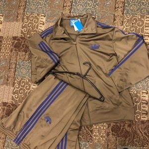 Adidas Brown Tracksuit with Blue Stripes